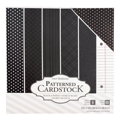 Core'dinations - Cardstock à motifs - noir - 60 feuilles