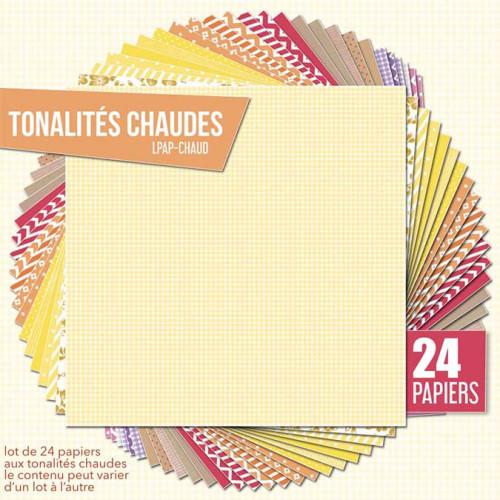 Assortiment de 24 papiers Tonalités chaudes