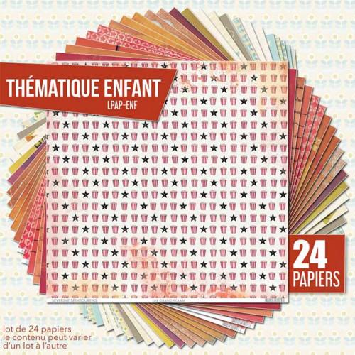 Assortiment de 24 papiers Thème Enfance
