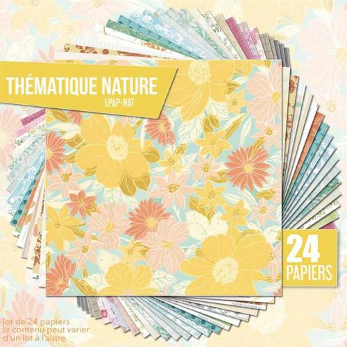 Assortiment de 24 papiers Thème Nature