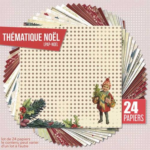 Assortiment de 24 papiers Thème Noël