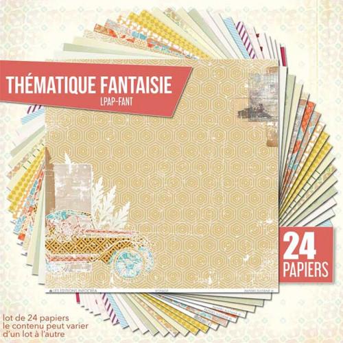 Assortiment de 24 papiers Thème Fantaisie