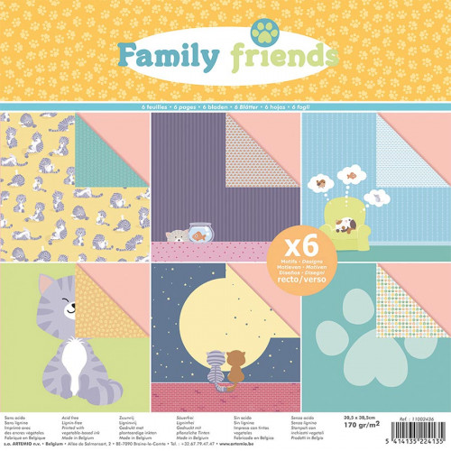 Set de 6 papiers Family Friends Chats - 30 x 30 cm