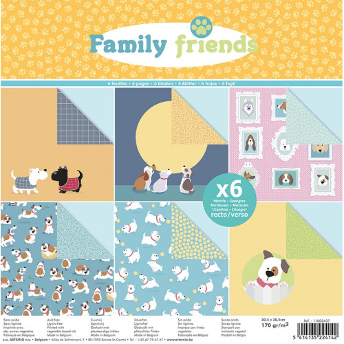Set de 6 papiers Family Friends Chiens - 30 x 30 cm