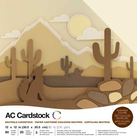 Cardstock Pack - Couleurs neutres - 30,5 x 30,5 cm - 60 feuilles