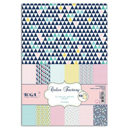 Color Factory - Bloc de 48 feuilles - A4 - Géométrique Pastel