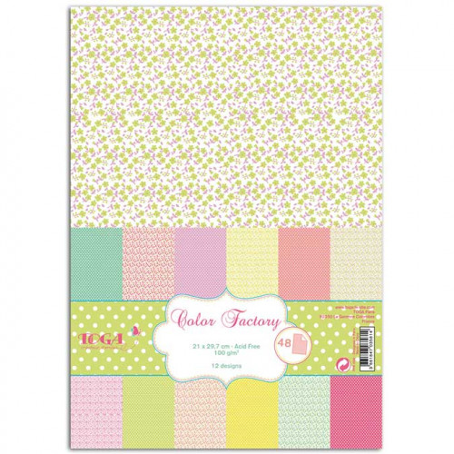 Color Factory - Fleurs et pois - A4 - 48 feuilles