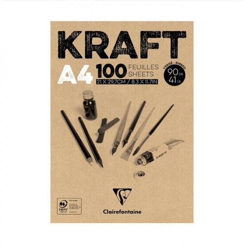 Kraft - Bloc de 100 feuilles - 90 g/m² - A4