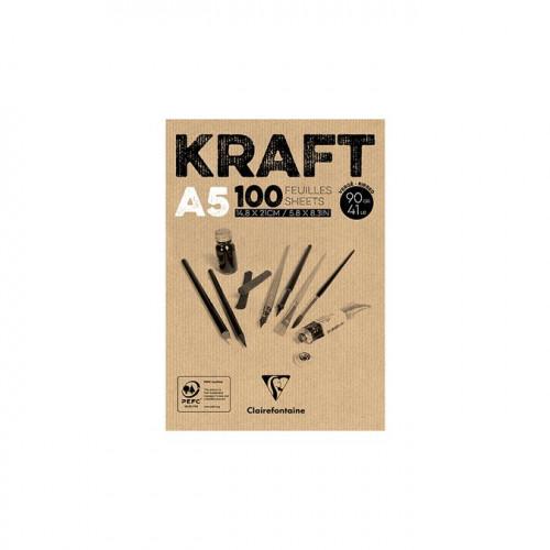 Kraft - Bloc de 100 feuilles - 90 g/m² - A5