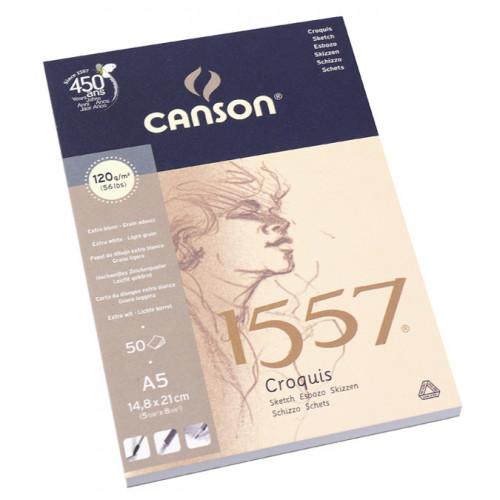 Canson 1557 grain léger 120g/m², bloc collé petit côté 14,8 x 21 cm