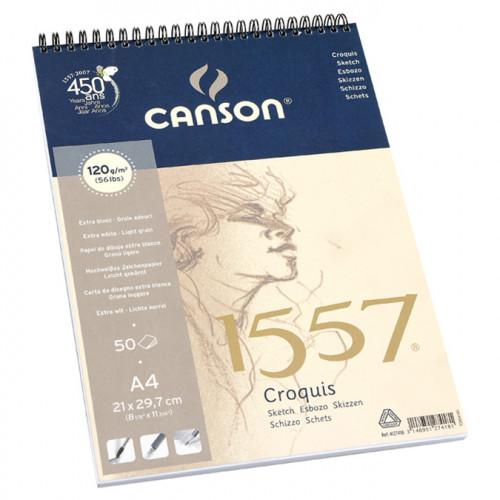 Canson 1557 grain léger 120g/m², bloc spiralé petit côté A4 - 21 x 29,7 cm