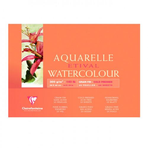 Etival - Bloc papier aquarelle - grain fin - 24 x 24 cm - 25 feuilles