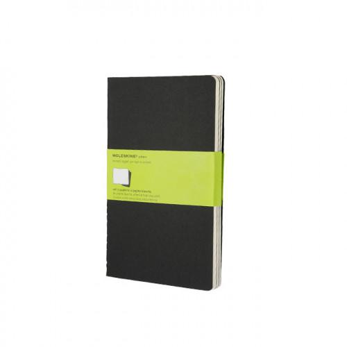 Set de 3 carnets de notes Moleskine pages blanches 13 X 21 noir
