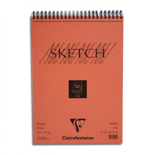 Carnet de croquis à spirale Sketch blanc 90 g/m² 50F
