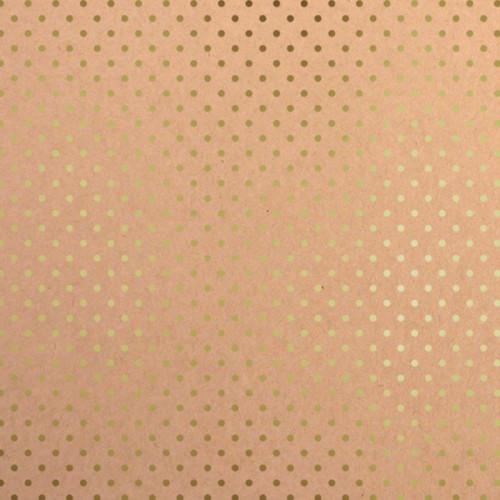 Papier - kraft et petits pois - 30,5 x 30,5 cm