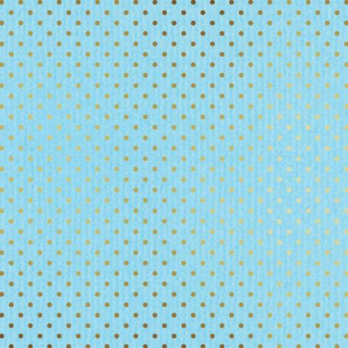 Papier - bleu pâle et pois or - 30,5 x 30,5 cm