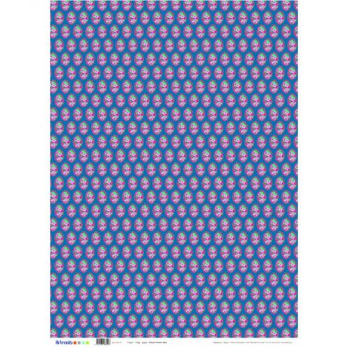 Flower Power - Papier bleu - 50 x 70 cm