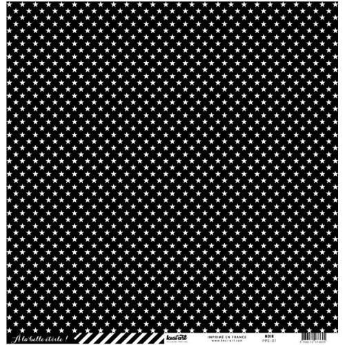 Basics - Cardstock étoile-rayure - noir