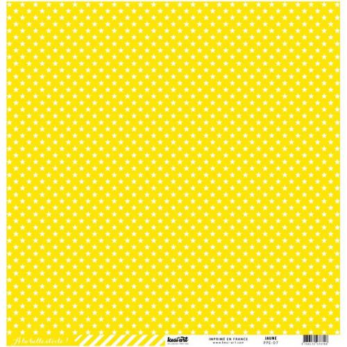 Basics - Cardstock étoile-rayure - jaune