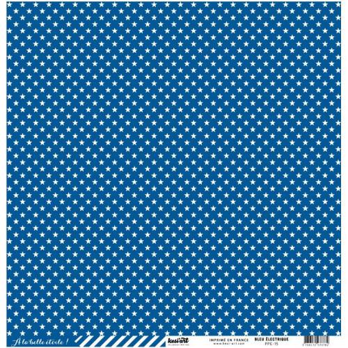 Basics - Cardstock étoile-rayure - bleu électrique