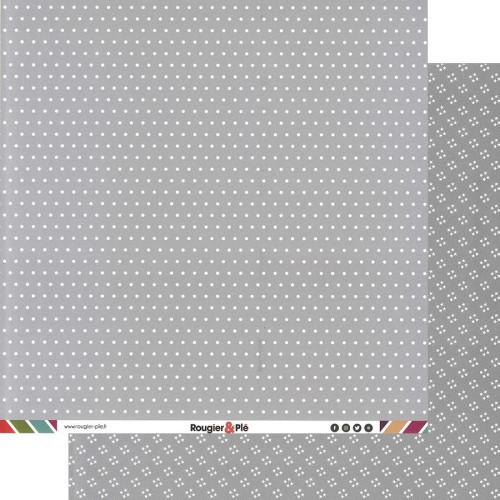 Papier recto-verso - gris / pois & étoiles