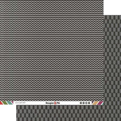 Papier recto-verso - noir / chevrons