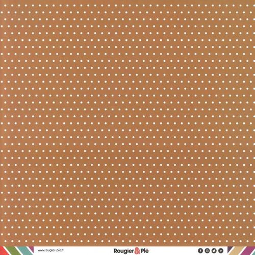 Papier recto-verso - chocolat / pois & étoiles