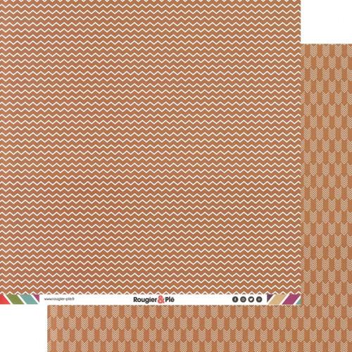 Papier recto-verso - chocolat / chevrons