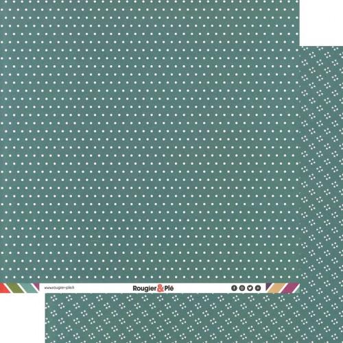 Papier recto-verso - turquoise / pois & étoiles