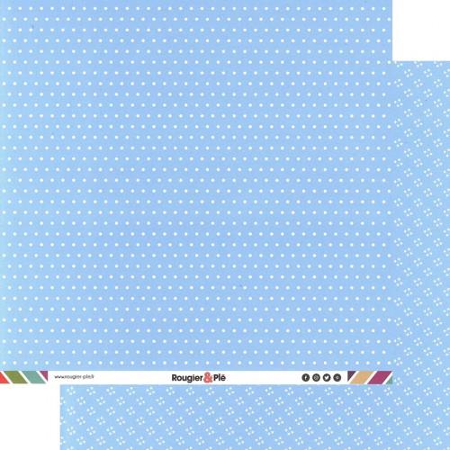 Papier recto-verso - bleu clair / pois & étoiles