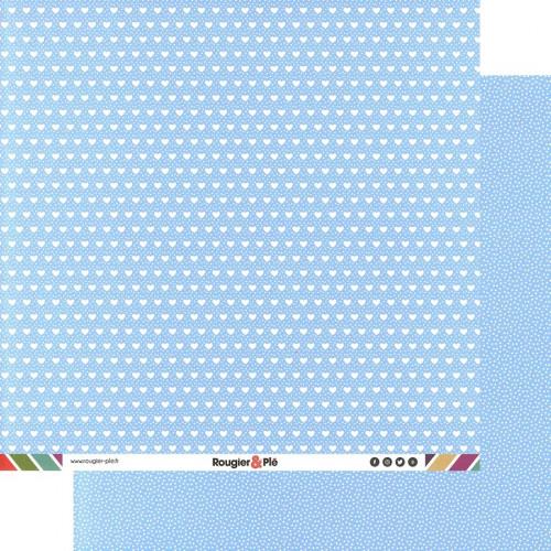 Papier recto-verso - bleu clair / géométrique