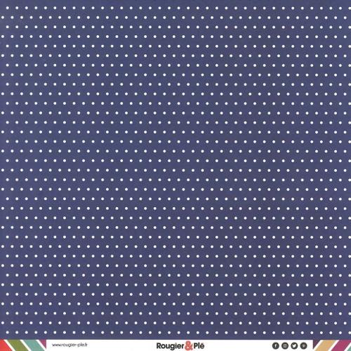 Papier recto-verso - bleu marine / pois & étoiles