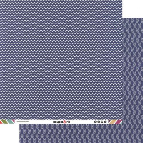 Papier recto-verso - bleu marine / chevrons