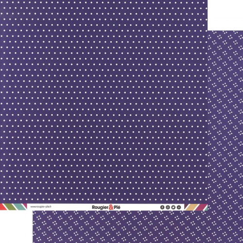 Papier recto-verso - prune / pois & étoiles