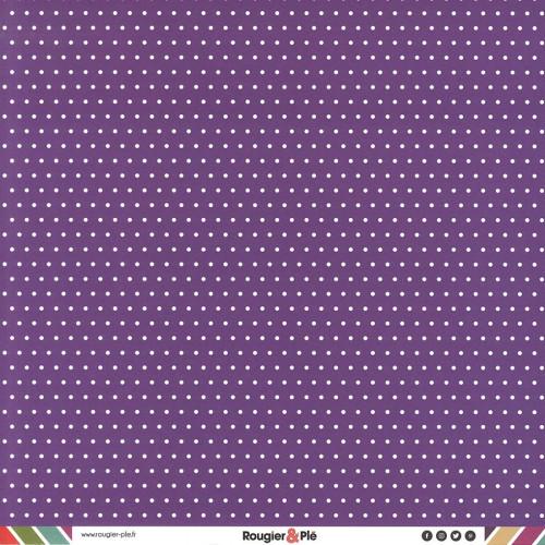 Papier recto-verso - violet / pois & étoiles