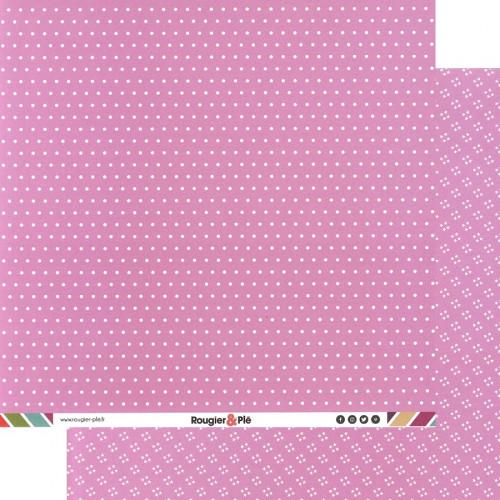 Papier recto-verso - rose / pois & étoiles