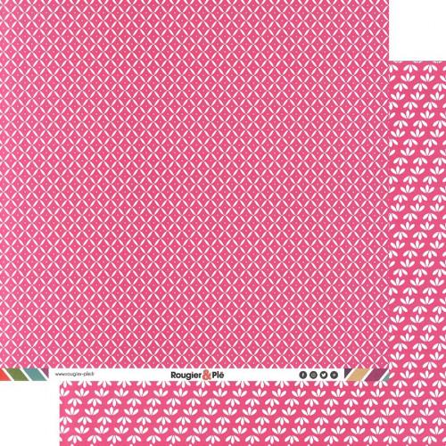 Papier recto-verso - fuchsia / géométrique