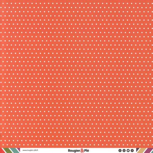 Papier recto-verso - corail / pois & étoiles