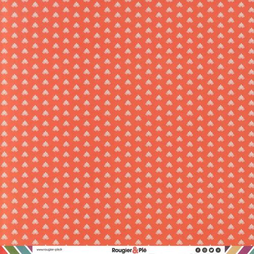 Papier recto-verso - corail / géométrique