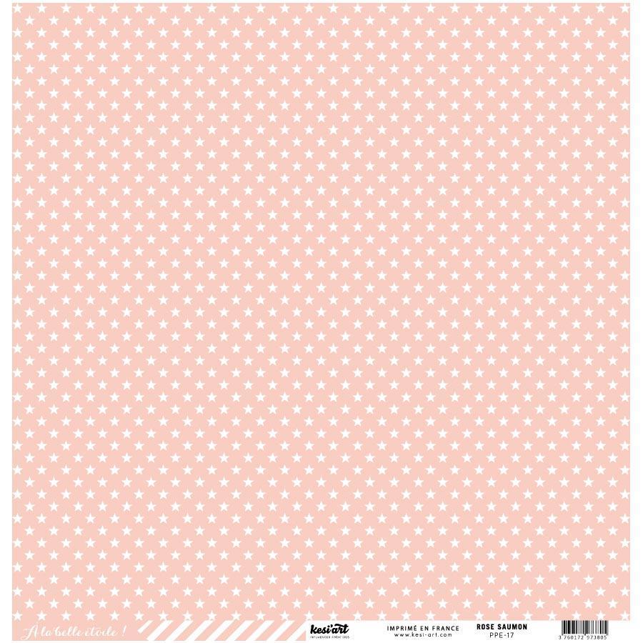 Basics - Cardstock étoile-rayure - rose saumon