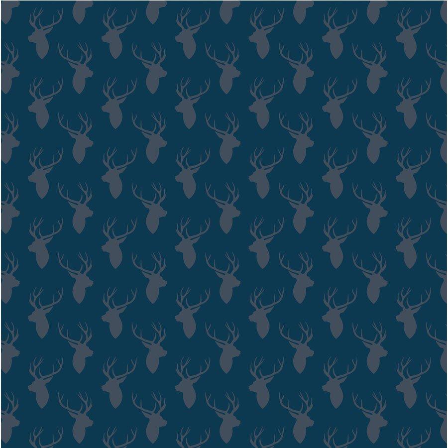 Noël Ecossais - Papier Cerfs bleu