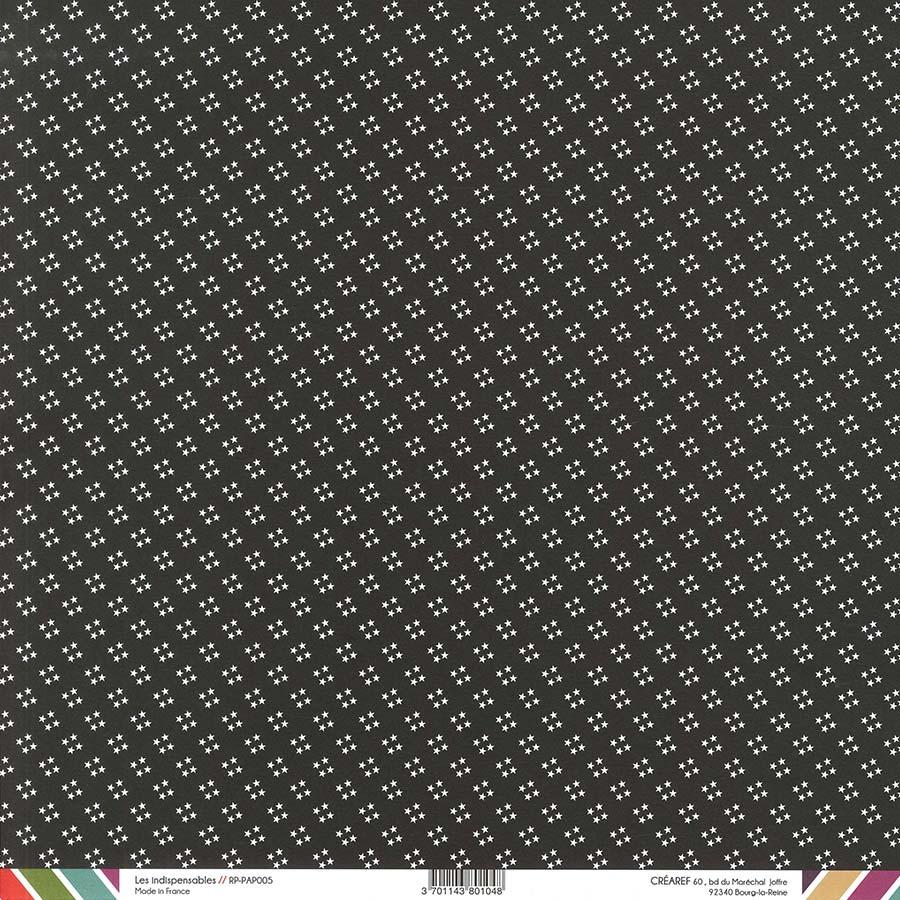 Papier recto-verso - noir / pois & étoiles