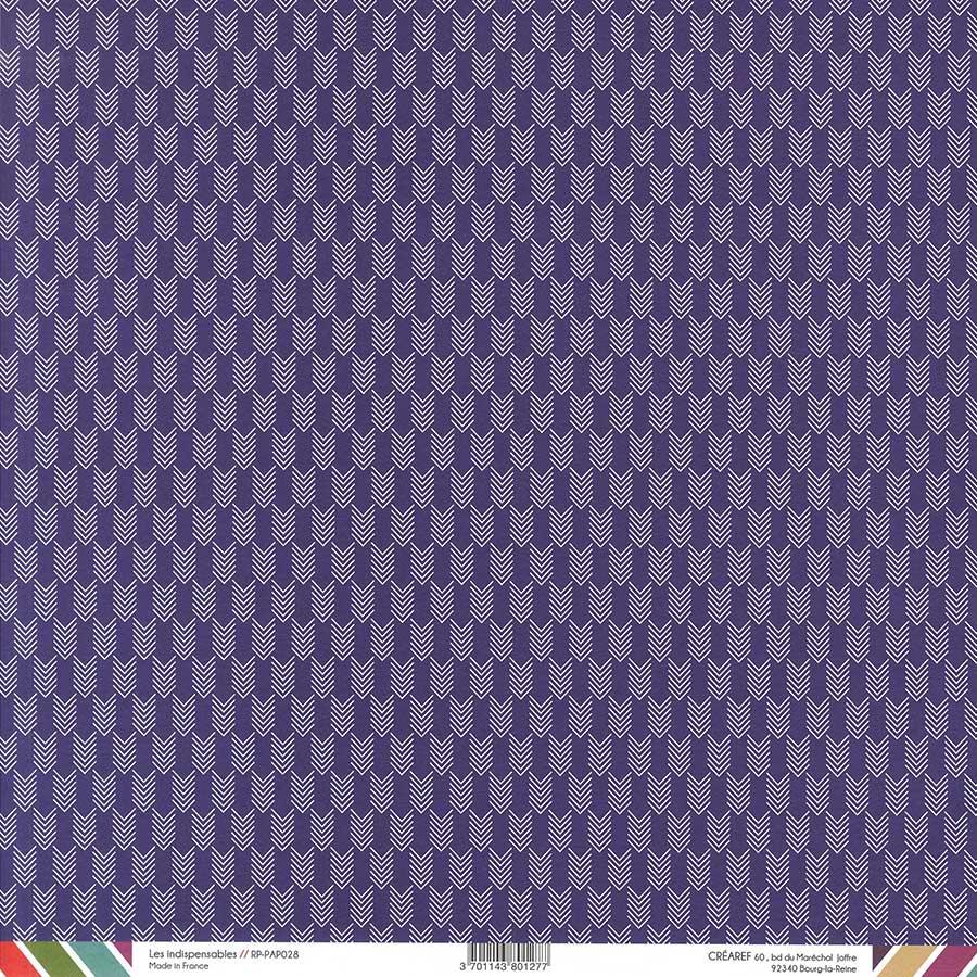 Papier recto-verso - prune / chevrons