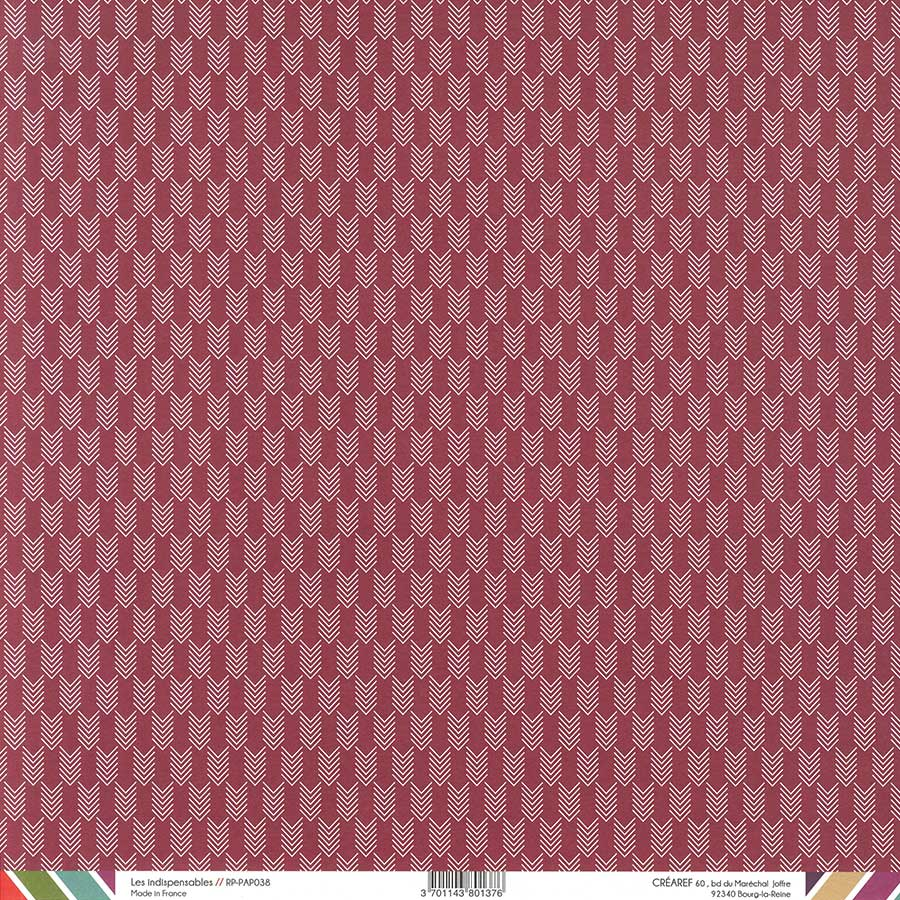 Papier recto-verso - framboise / chevrons