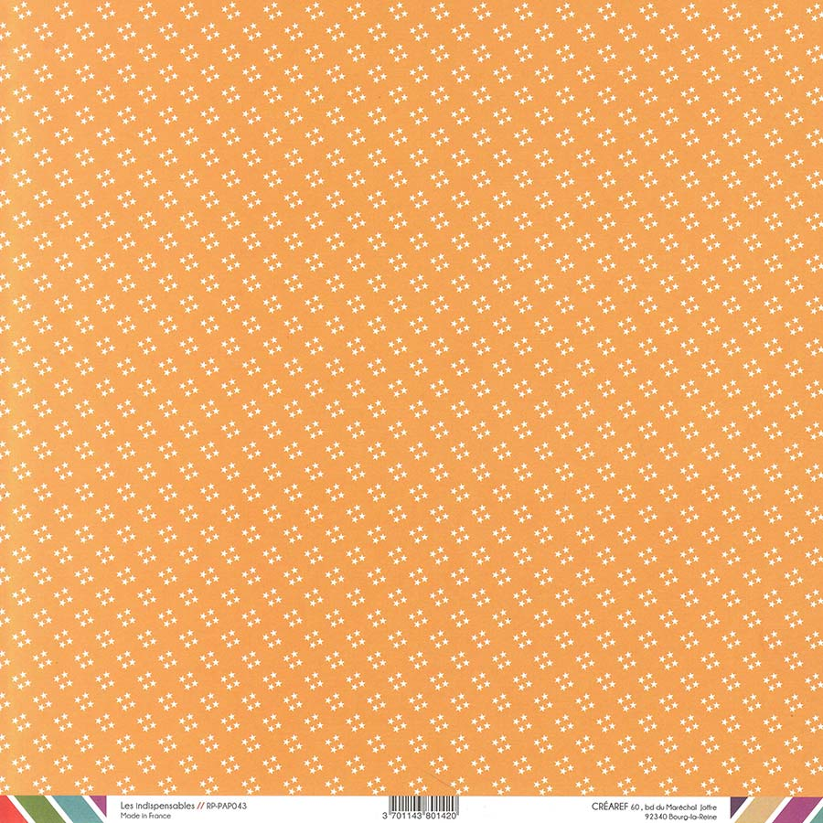 Papier recto-verso - orange / pois & étoiles