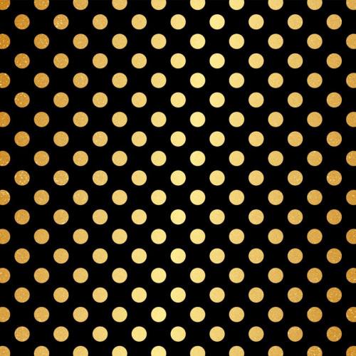 Papier spécial - Noir et gros pois or - 30,5 x 30,5 cm