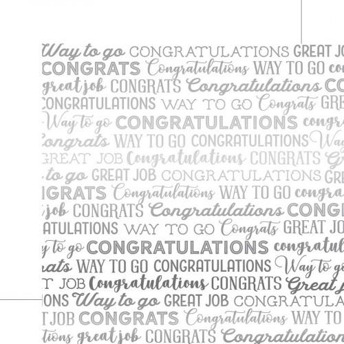 Congrats Foil - Papier White Congrats Silver Foil