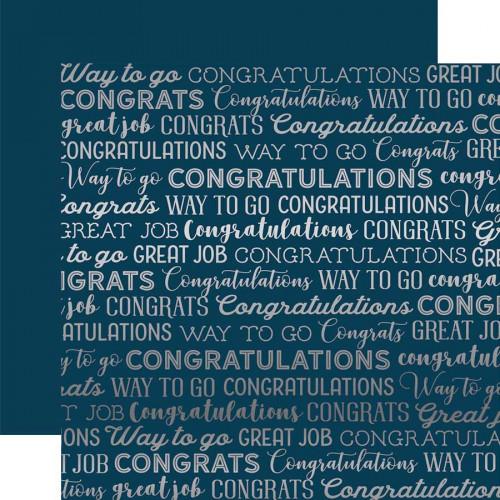 Congrats Foil - Papier Navy Congrats Silver Foil