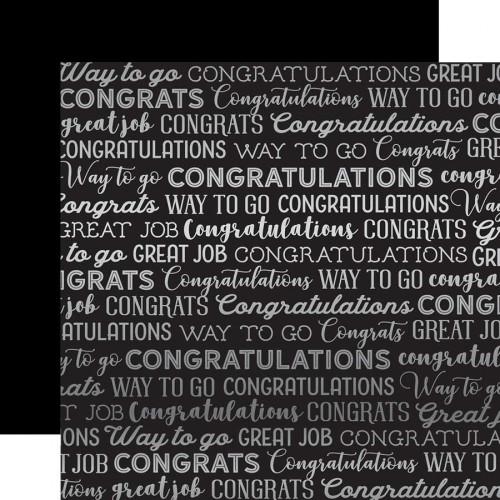 Congrats Foil - Papier Black Congrats Silver Foil