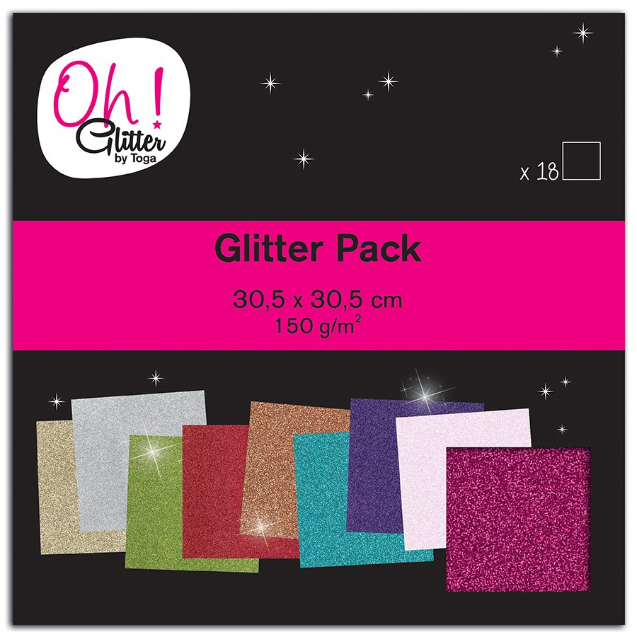 Oh Glitter ! - Bloc de 18 feuilles de papier pailleté - 9 couleurs - 30,5 x 30,5 cm